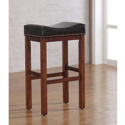 Jackson 30 in. Medium Walnut Saddle Seat Bar Stool