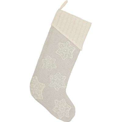 20 in. Cotton/Metallic Thread Ingrid Ash Grey Farmhouse Christmas Decor Stocking