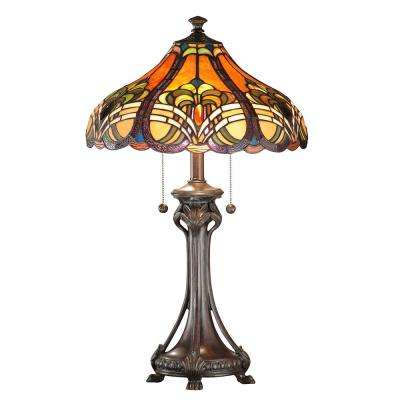 26.5 in. Antique Bronze Bellas Table Lamp with Mica Shade