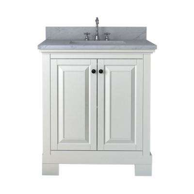 Richmond 30 in. W x 22 in. D Bath Vanity in White with Marble Vanity Top in White with White Basin