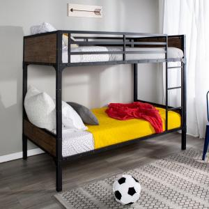 Rustic Industrial Twin over Twin Wood Bunk Bed - Brown