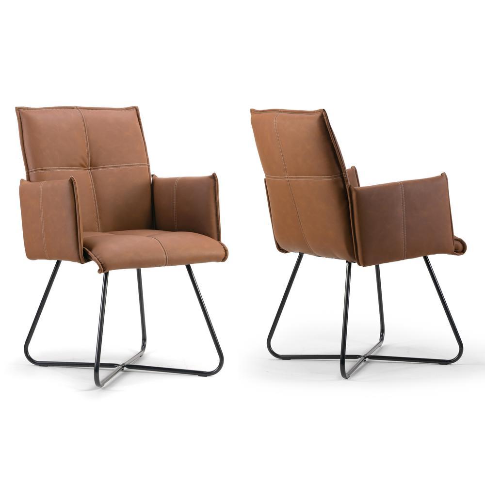 Ambel Brown Modern Dining Chair with Black Metal Legs (Set of 2)