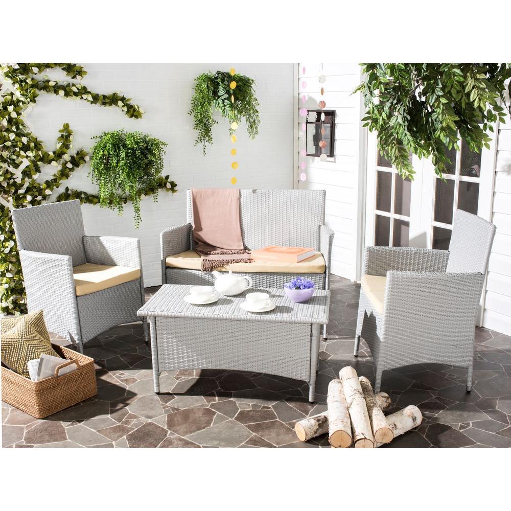 Safavieh Mojavi Gray 4 Piece Wicker Patio Seating Set With Beige Cushions