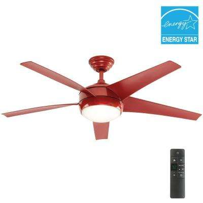 Windward IV 52 in. Indoor Red Ceiling Fan with Light Kit and Remote Control