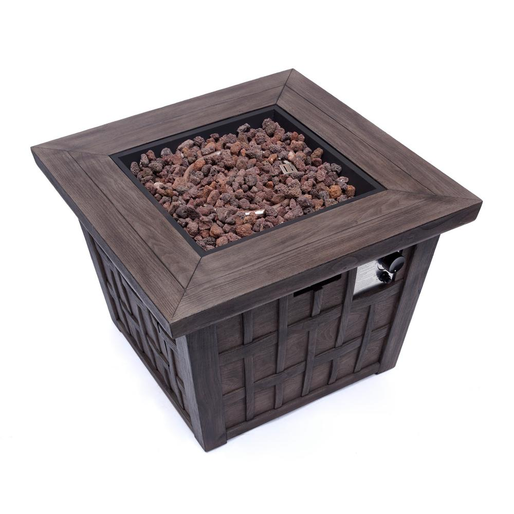 Noble House Tanner 32 in. x 24 in. Square MGO Propane Fire Pit in Brown