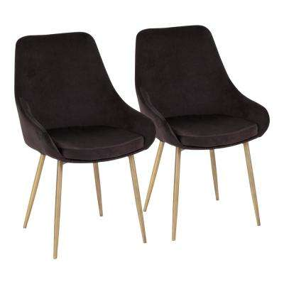 Diana Black Velvet and Satin Brass Metal Chair (Set of 2)