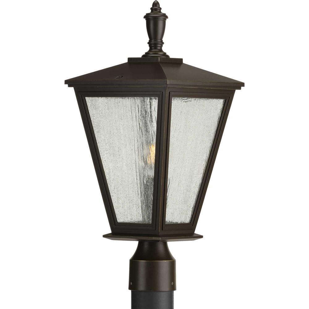Cardiff Line Voltage Bronze 1-Light 4 in. x 4 in. Deck Post Light Lantern