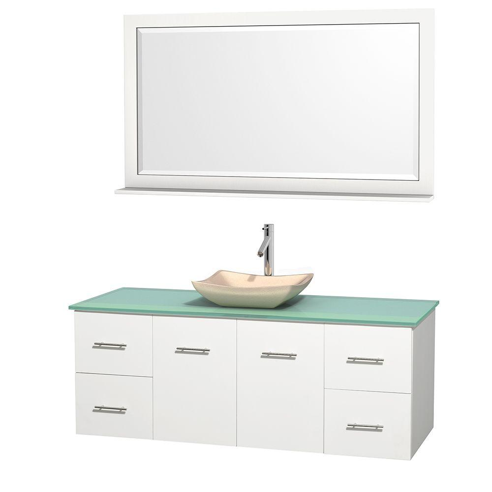 Wyndham Collection Centra 60 in. Vanity in White with Glass Vanity Top in Green, Ivory Marble Sink and 58 in. Mirror