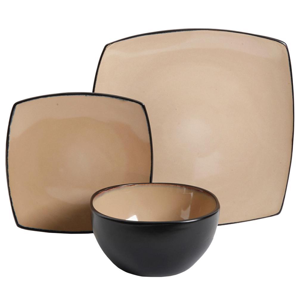 Soho Lounge 12-Piece Soft Square Taupe Dinnerware Set