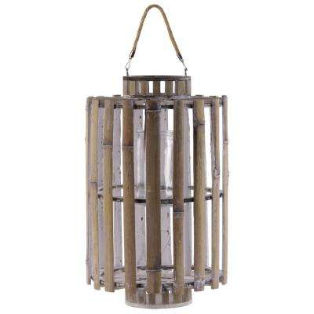 White Candle Bamboo Decorative Lantern