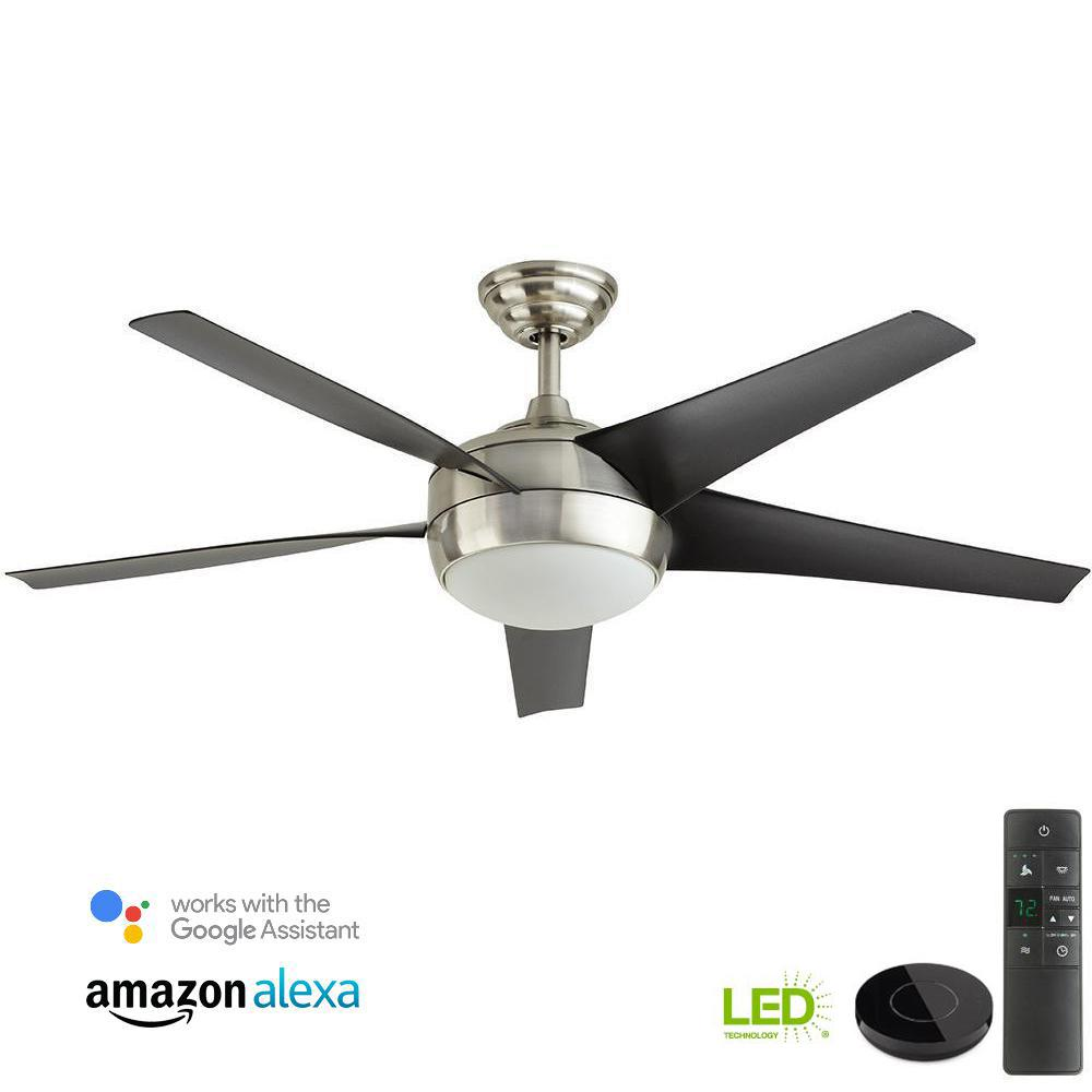 Home Decorators Collection Windward Iv 52 In Led Indoor Brushed Nickel Ceiling Fan With Light Kit And Remote Control 26663 The Home Depot