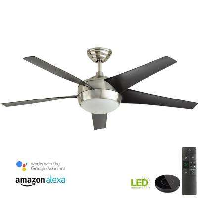 Windward IV 52 in. LED Brushed Nickel Ceiling Fan with Light Kit Works with Google Assistant and Alexa