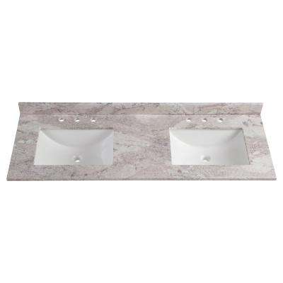 Cultured Marble Gray Double Sink