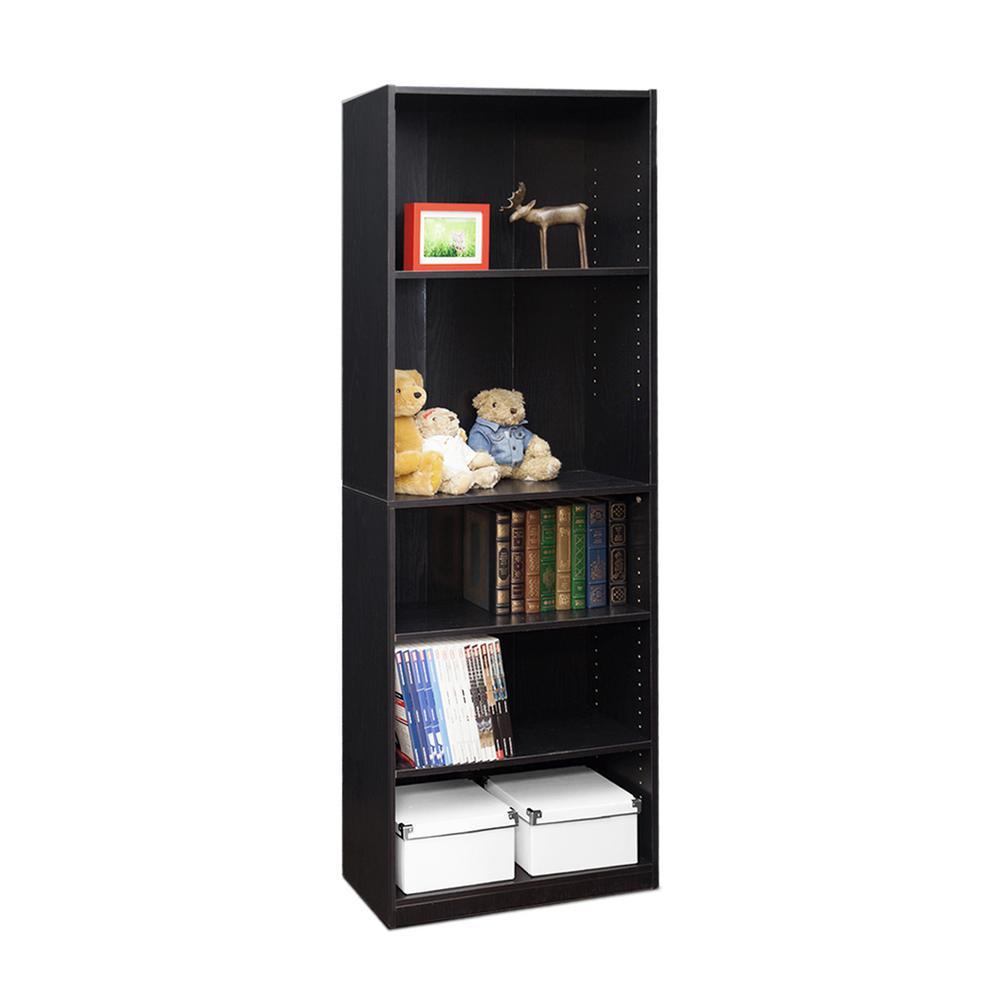 Furinno Jaya 5 Shelf Black Open Bookcase 14110r1bkw The