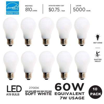 60W Equivalent Soft White A19 LED Light Bulb (10-Pack)