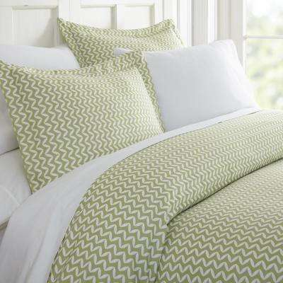 Puffed Chevron Patterned Performance Sage King 3-Piece Duvet Cover Set