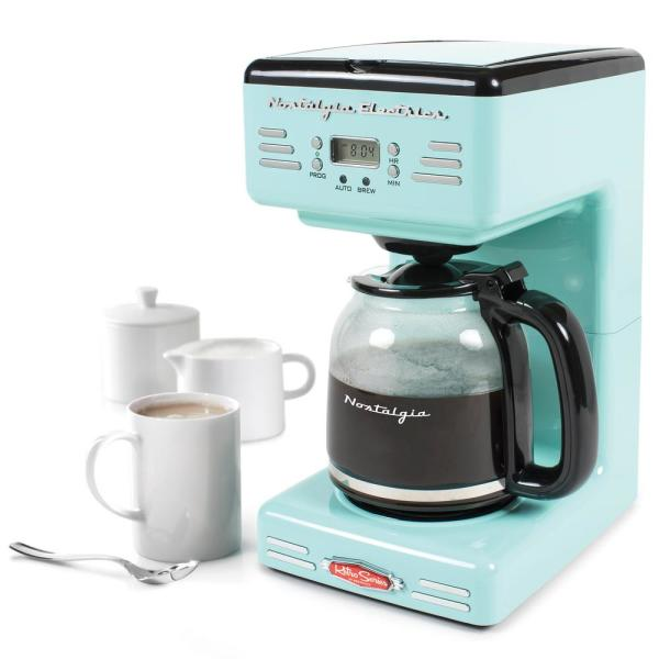 Nostalgia 12 Cup Blue Coffee Maker With Pause And Serve Function Rcof12aq The Home Depot