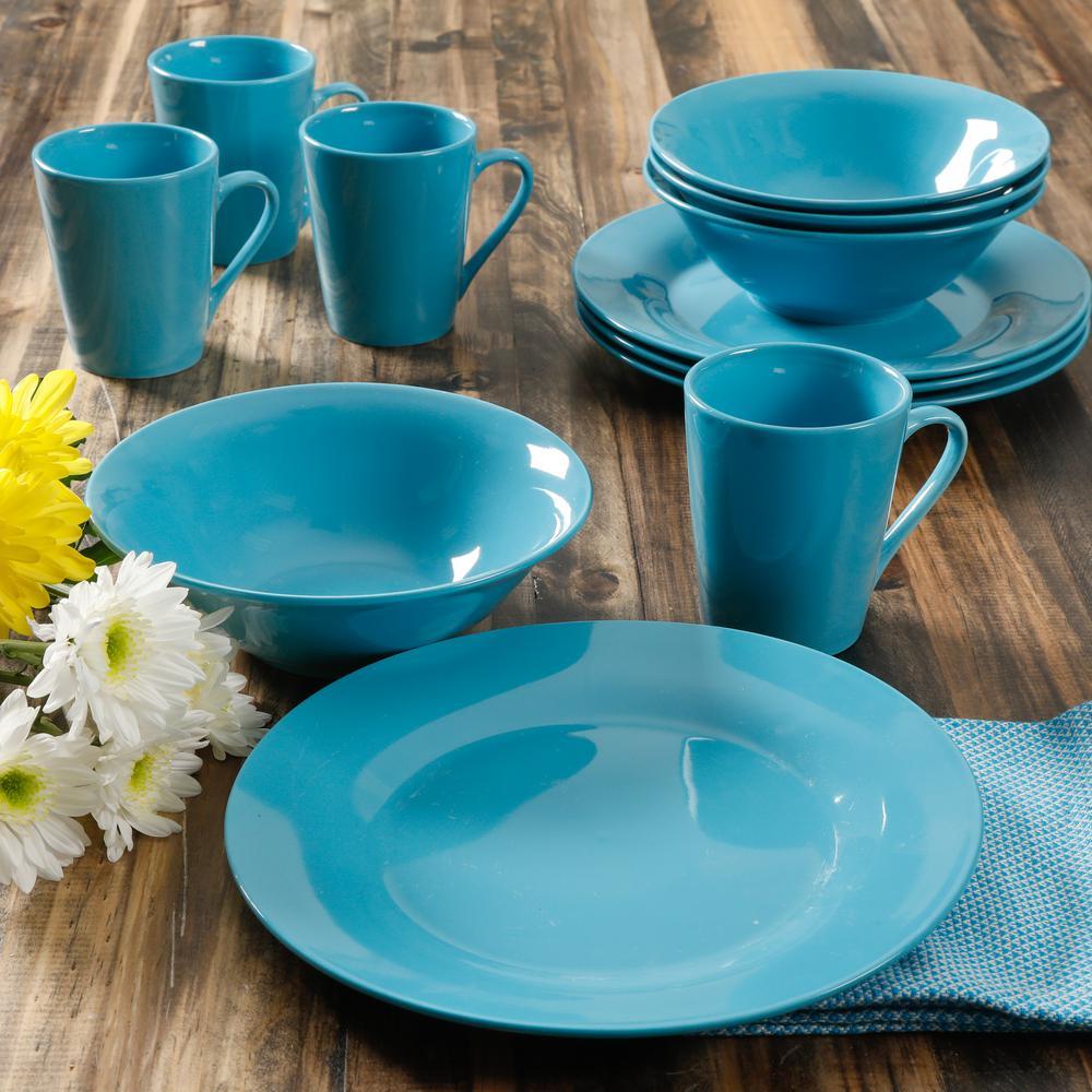 Deals on Gibson Home Carlton 12-Piece Blue Dinnerware Set