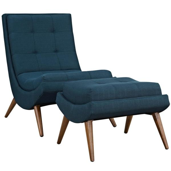 Ramp Azure Upholstered Fabric Lounge Chair Set