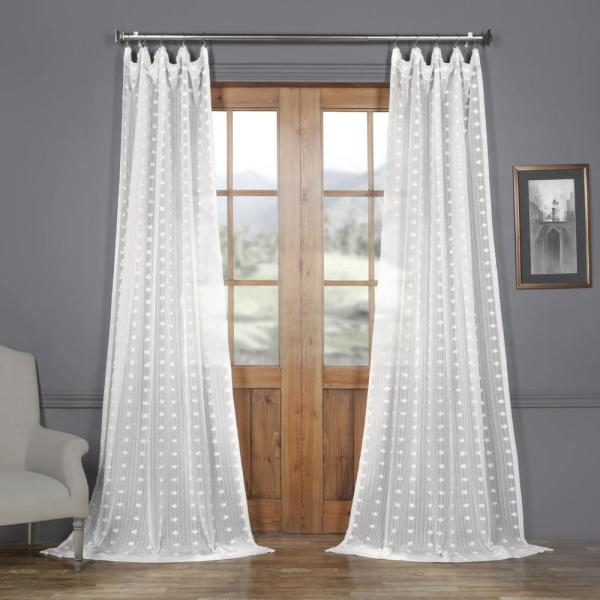 Strasbourg Dot White Patterned Faux Linen Sheer Curtain - 50 in. W x 120 in. L (1-Panel)