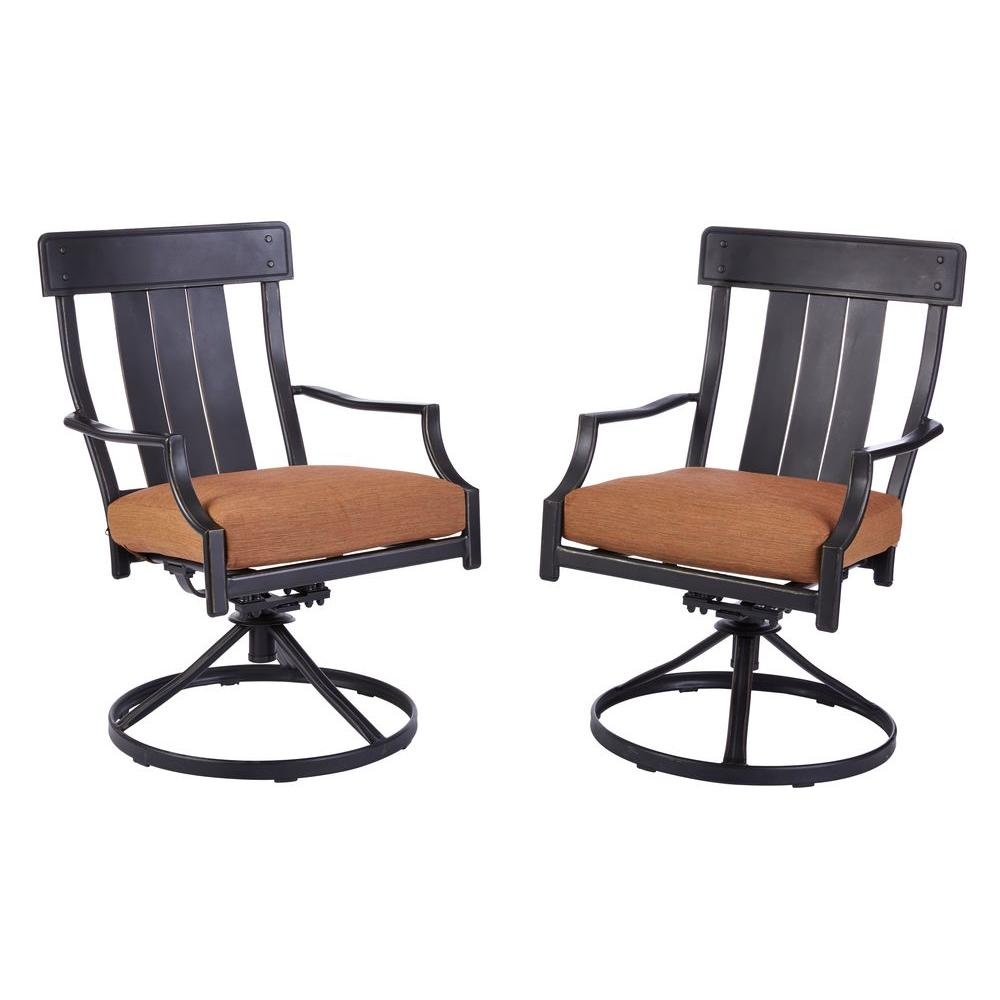 Oak Heights Motion Metal Outdoor Patio Dining Chairs with Cashew Cushions