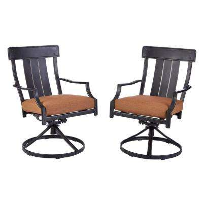 Oak Heights Motion Metal Outdoor Patio Dining Chairs with Cashew Cushions (2-Pack)