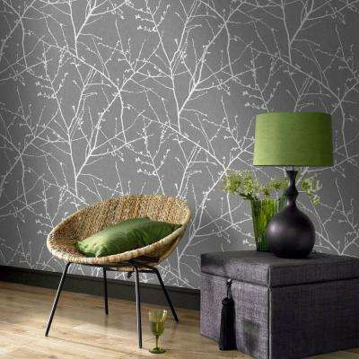 Charcoal and Silver Innocence Removable Wallpaper