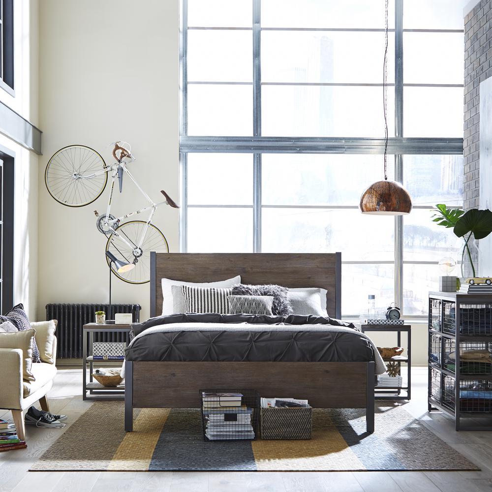 Home Styles Barnside Metro 4-Piece Driftwood Queen Bedroom Set 5053-5022