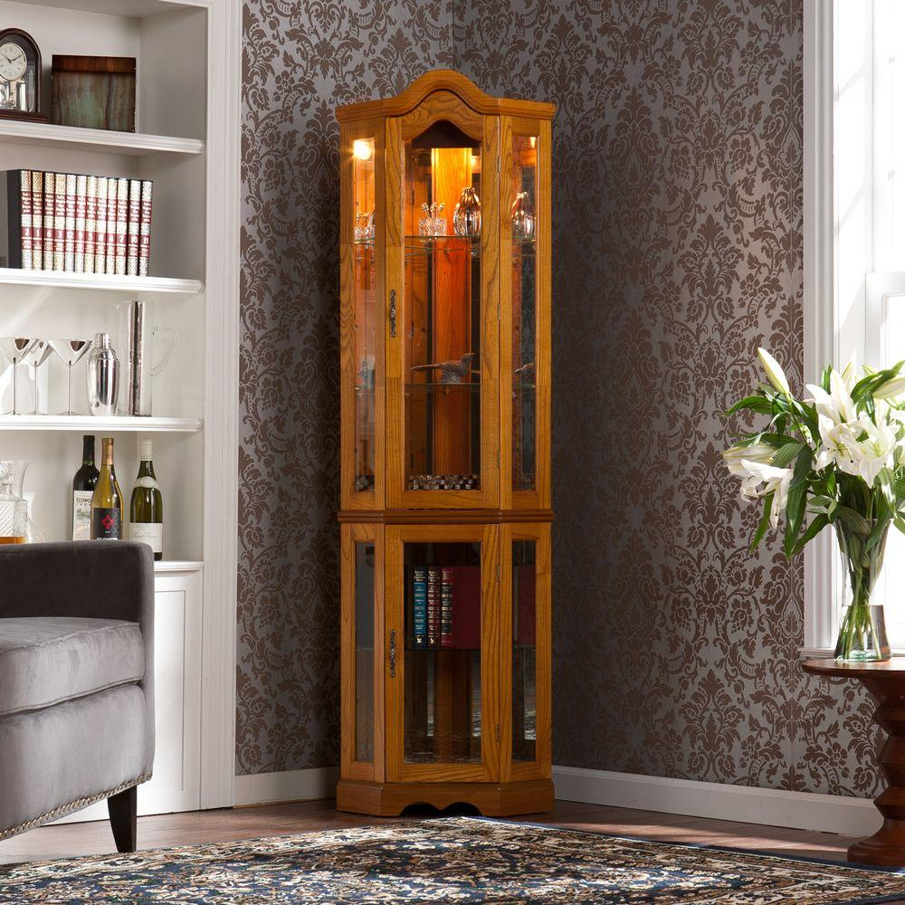 Lovely Southern Enterprises Priscilla Glass Door Curio Cabinet In Golden  Oak HD888392   The Home Depot