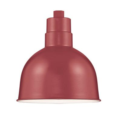 R Series 1-Light 10 in. W Satin Red Outdoor Bowl Shade Pendant