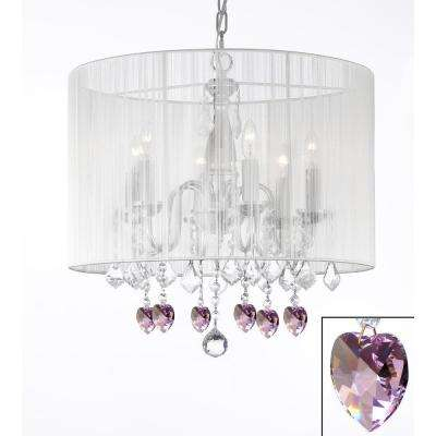 Empress Chrome 6-Light Chandelier With White Shade and Pink Crystal Hearts