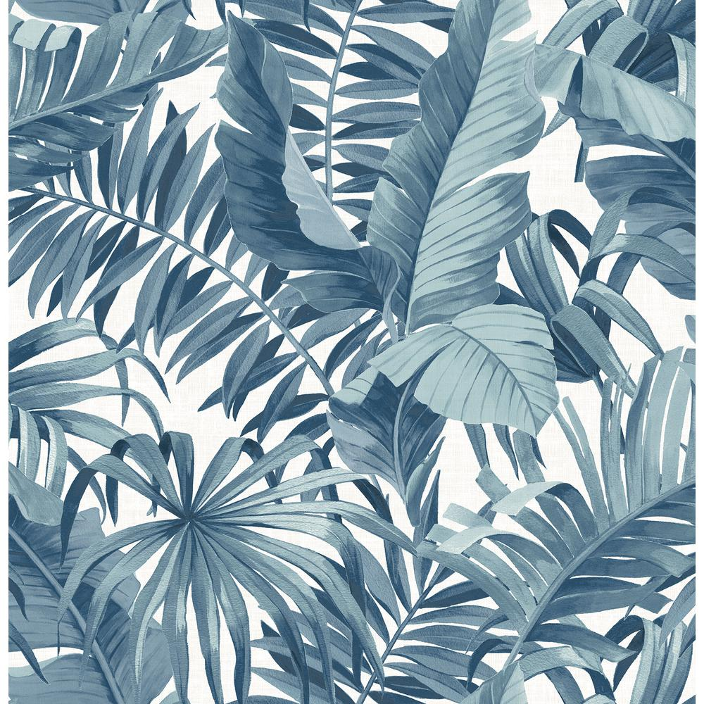 AStreet A-Street 56.4 sq. ft. Alfresco Navy Palm Leaf Wallpaper, Blue