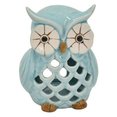 5.75 in. Blue Ceramic Owl Candle Holder