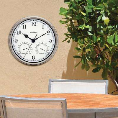 Silver Finish 12 in. Round Metal Frame Outdoor Wall Clock