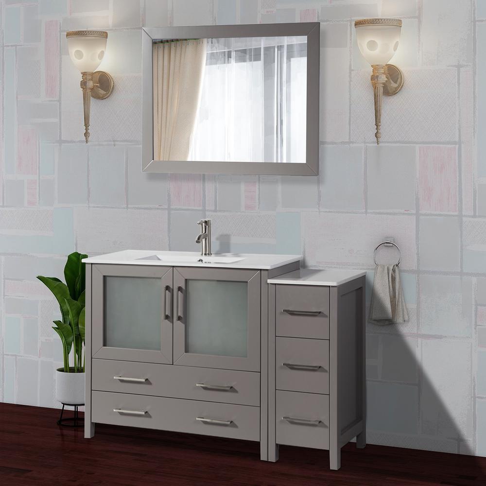 Brescia 48 in. W x 18 in. D x 36 in. H Bathroom Vanity in Grey with Single Basin Vanity Top in White Ceramic and Mirror