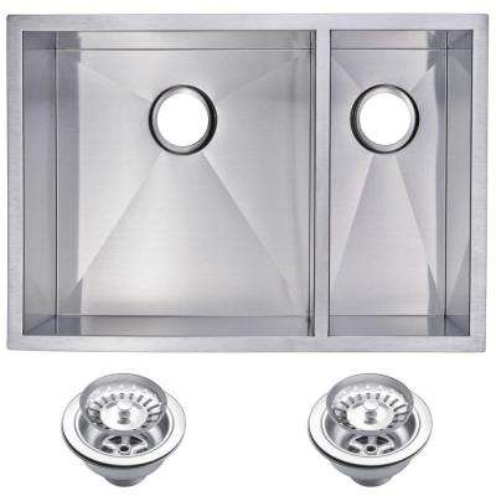 Undermount Zero Radius Stainless Steel 29 in. 0-Hole Double Bowl Kitchen Sink with Strainer in Satin Finish