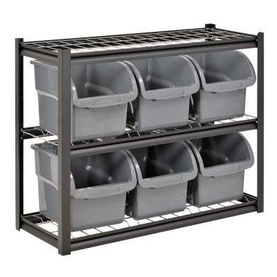 33 in. H x 44 in. W x 16 in. D 2-Shelves 6-Bin Shelving Rack in Black