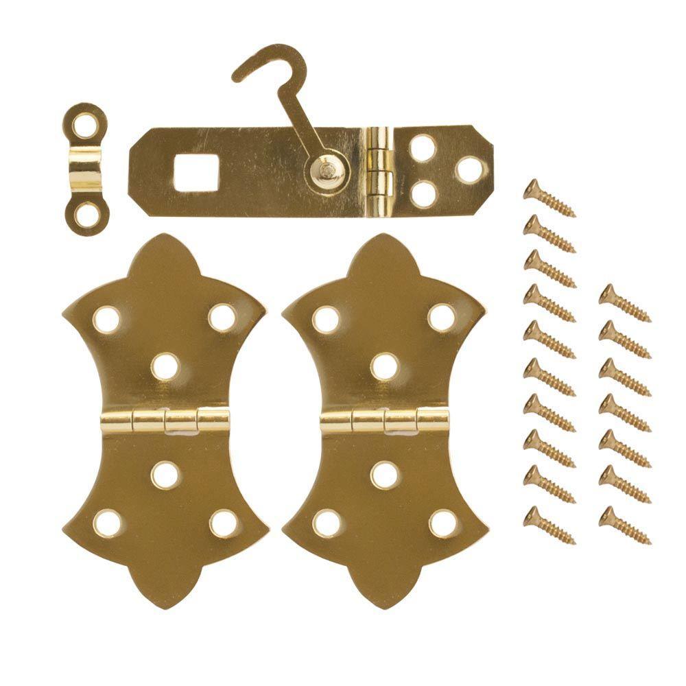 Everbilt Bright Brass Decorative Hinges and Hasp Kit