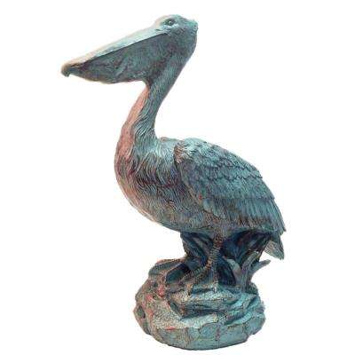 20 in. Pelican on Coastal Rock Collectible Beach Statue