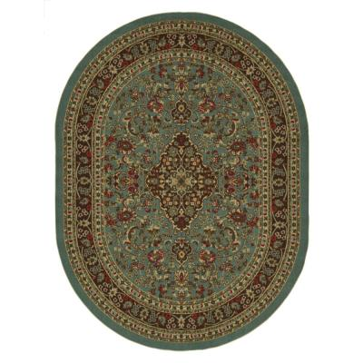 Ottohome Collection Seafoam Oriental Design 5 ft. x 7 ft. Oval Area Rug