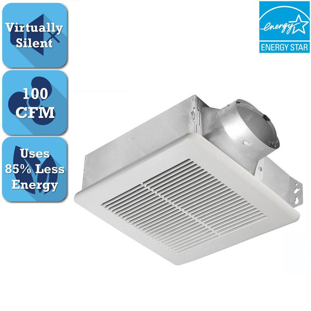 Slim Series 100 CFM Ceiling or Wall Bathroom Exhaust Fan