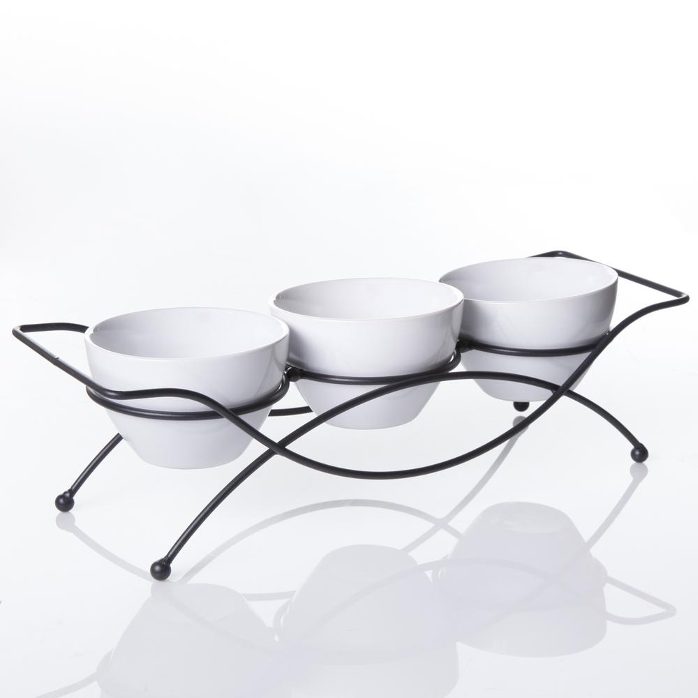 Gracious Dining 5 in., 4-piece White Serving Bowl Set with Metal