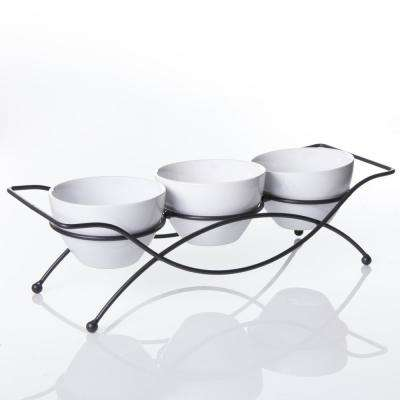Gracious Dining 5 in., 4-piece White Serving Bowl Set with Metal Stand