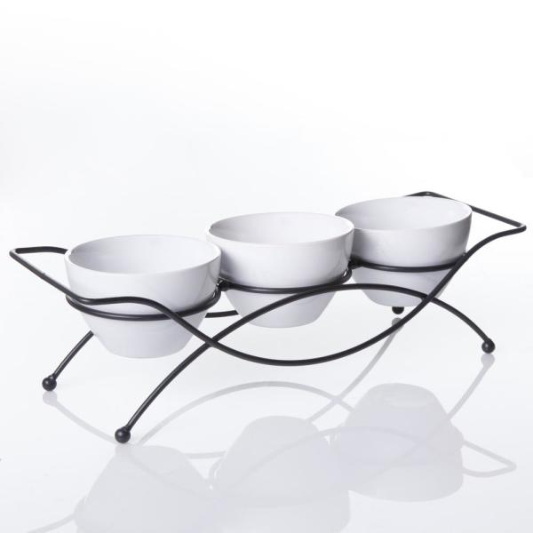 GIBSON elite Gracious Dining 5 in., 4-piece White Serving Bowl Set with Metal Stand