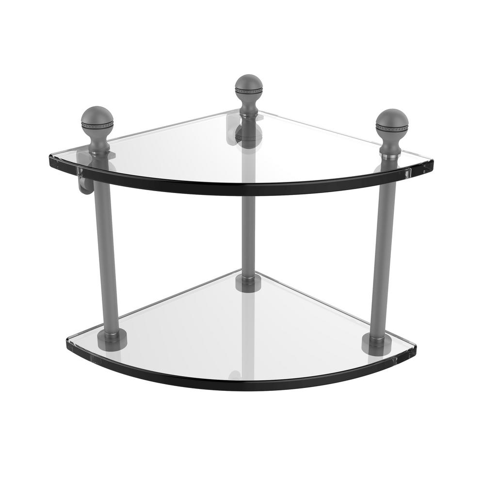 Mambo Collection 2 Tier Corner Glass Shelf in Matte Gray