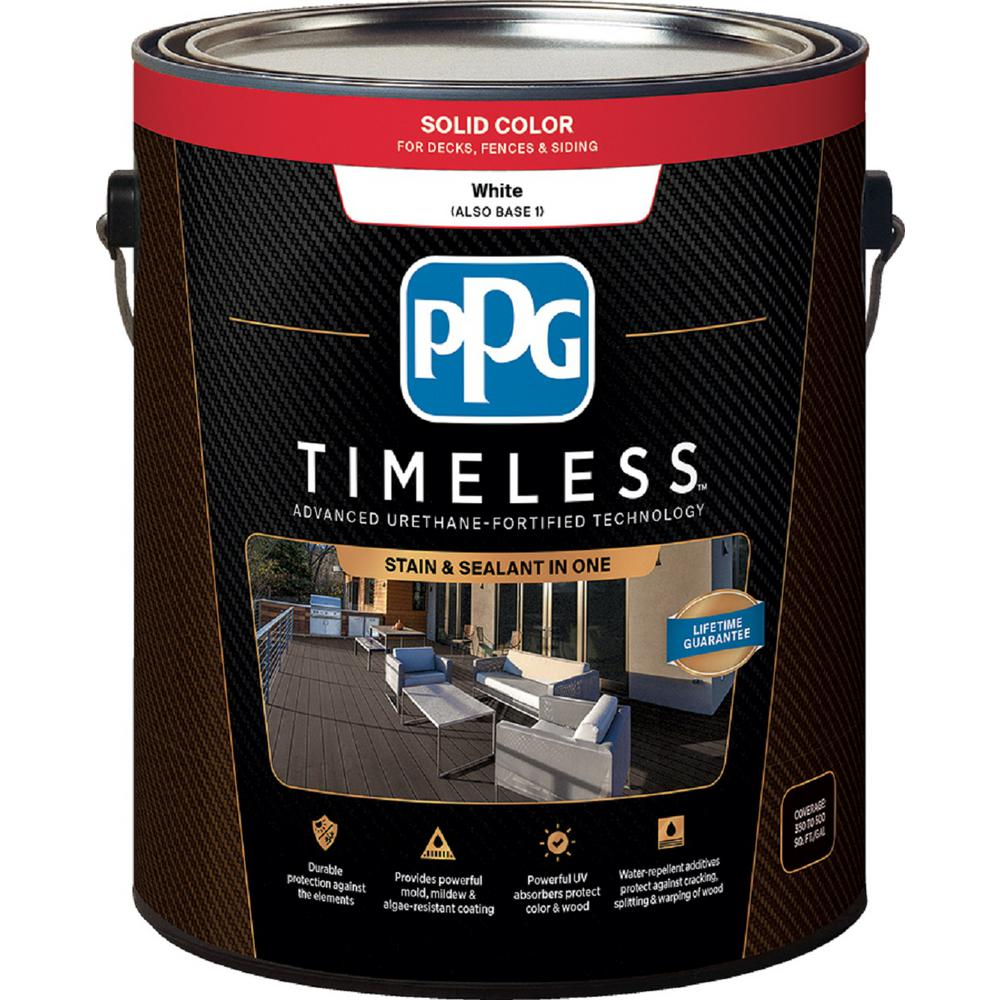 Ppg timeless 3 gal tsc 53 white base 1 solid color for Exterior solid color wood stain