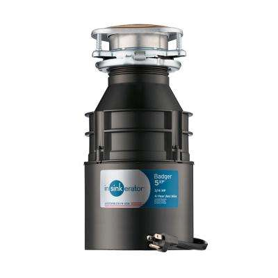 Badger 5XP 3/4 HP Continuous Feed Garbage Disposal with Power Cord