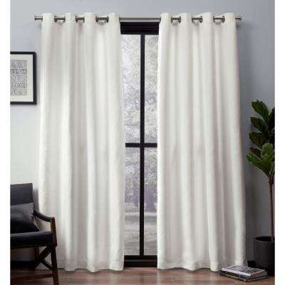 Leeds 52 in. W x 96 in. L Woven Blackout Grommet Top Curtain Panel in Vanilla (2 Panels)