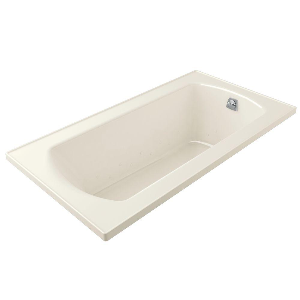 STERLING Lawson 5 ft. Rectangular Drop-in Air Bath Tub in Biscuit