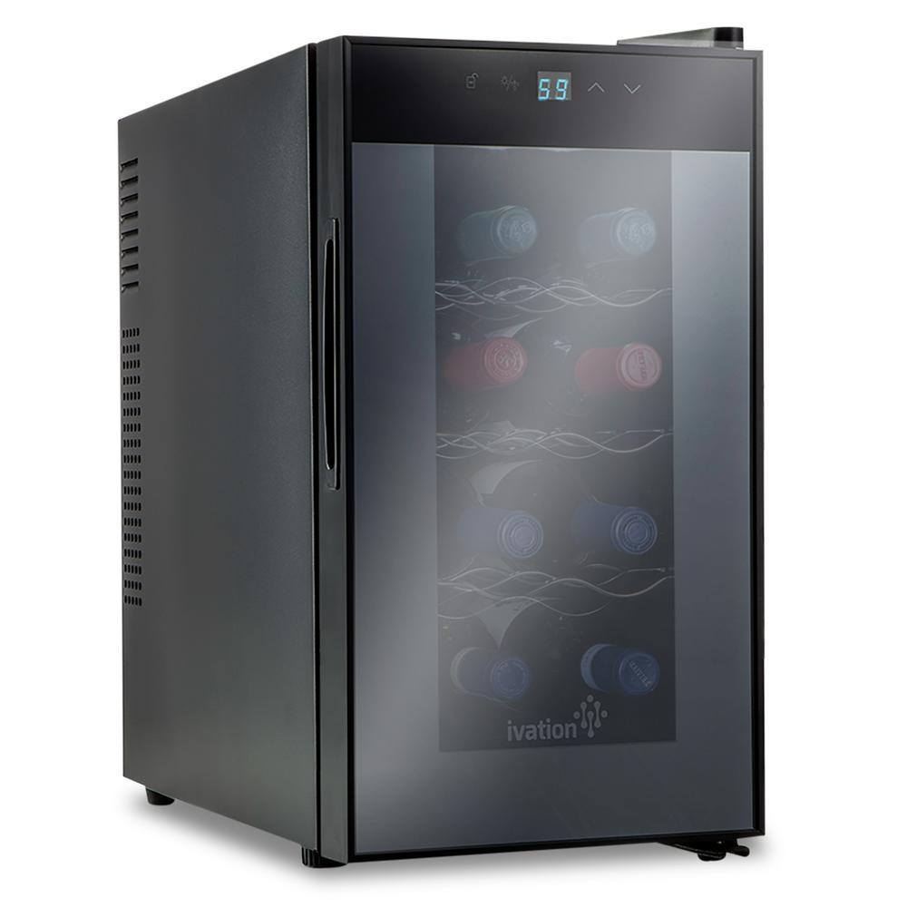 8 Bottle Thermoelectric Countertop Freestanding Wine Cooler/Fridge - Vertical - Black
